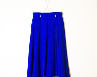 70s Royal Blue Skirt with Gold Buttons |  Vintage Skirt in Royal Blue |