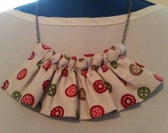 Fabric necklace ruffle fabric necklace ruffled fabric necklace bib necklace bib fabric necklace fabric jewelry ruffled fabric jewelry