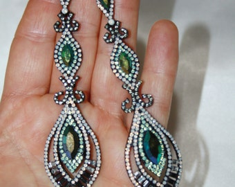 4 Inch Long Rhinestone Crystal Chandelier Earrings Drag Queen Pageant Prom