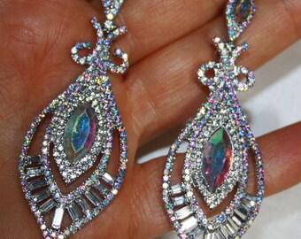 AB Chandelier Earrings Rhinestone Crystal Bridal Prom Pageant 3 in Long