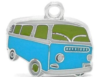 2 blue bus pendant, enamelled, 20 x 18 mm