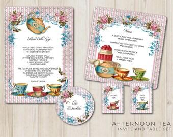 Afternoon Tea invitation and table set - Digital Printable File - DIY Wedding Invite PDF