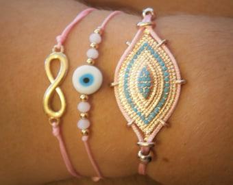 GREEK EVIL EYE Triple rope Macrame Bracelet Heart infinity bracelets Braided Charm Nazar Mati blue pink black beads gold metal hamsa Greece