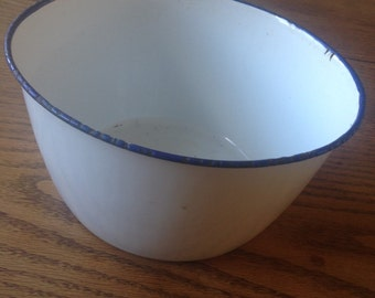 Vintage French Enamelware Pudding Bowl