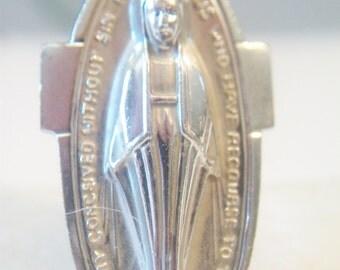Oblong Virgin Mary Medallion Pendant Religious Jewelry