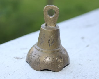 Vintage 1970's Brass Bell With Etched Design Marked India
