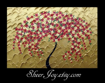 Japanese painting , cherry blossom paintings, made in Australia , large painting , painting of, cherry blossom tree, blowing in the wind