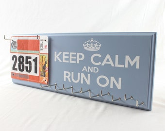 Running: running medals displays with race bibs - running  Keep Calm and Run On
