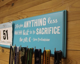 Running Medal display Rack - runners medal display rack - runners gifts - Steve Prefontaine inspirational running quotes