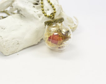 Necklace real flower  and rose