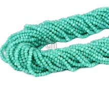 "CIJ 20% OFF 1 Strand Aqua Chalcedony Rondelle Micro Faceted 3-4mm 13"" Length AAAmazing quality 100 Percent Natural (RLAD-70002)"