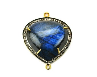 22k Gold Vermeil Labradorite Cabochon with Natural Pave Diamond Setting Gemstone Link Connector/Pendant (DPLB-40006)