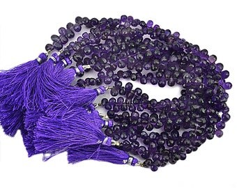Amethyst Teardrops Beads 5x4mm Faceted Briolette Drops Beads 8 Inch Full Strand (DRAM-70027)