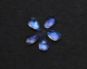 5Pcs Lot Of AAA Quality Natural Rainbow Moonstone Blue Flash Cabochon, 6x8mm Loose Gemstone GemMartUSA (RM-60016)