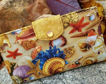 Seashell Checkbook Cover, Beach Themed Coupon Wallet