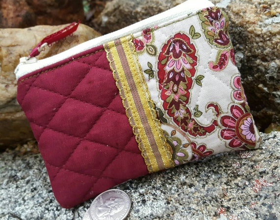 Quilted Coin Purse, Paisley Zipper Pouch, Burgundy Change Purse
