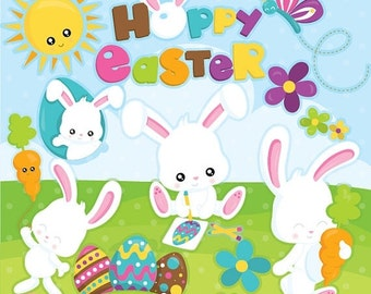 80% OFF SALE Easter clipart commercial use, easter bunny vector graphics, easter digital clip art, digital images  - CL948