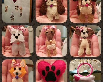 Puppy Themed, Hand-Stitched Pink Felt Baby Girl Mobile