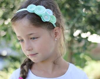 Flower Girl Headband, Pink felt flower headband, felt girls hair accessoires, felt rose headband, pastel felt flowers, Sparkly headband