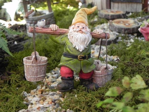 Gnome In Garden: Miniature Gnome Fairy Garden Accessories Buckets Fairy