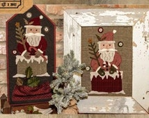 Wool Applique - Coming Down the Chimney - Choose Pattern Only, Pattern with Wool Santa 1 or Pattern with Wool Santa 2
