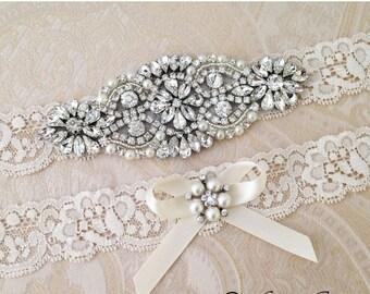 20% OFF Ivory Bridal garter set, Ivory Wedding Garter set, Rhinestone and Crystal garter, White Lace Garter Set