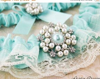 20% OFF AQUA BLUE Wedding Garter, Something Blue, Blue Lace Wedding Garter Set, Bridal Garter Set, Ivory Lace Garter, Ivory Garter Set