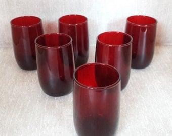 Royal Ruby Juice Glasses - Set of 6