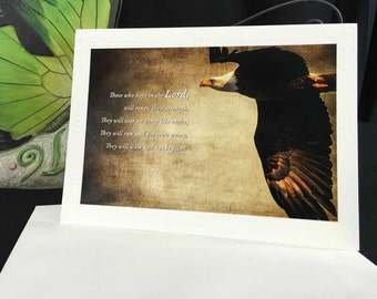 Scripture Isaiah 40 Scripture Card with Eagle Encouragement BibleArt Christian Inspiration eagle mini art print