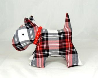 Scottie Dog Toy Dog Soft Toy Red WhiteTartan