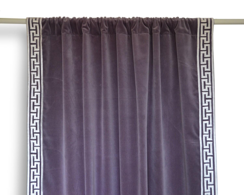 Velvet Curtain With Greek Key Embroidery Gray Purple Velvet