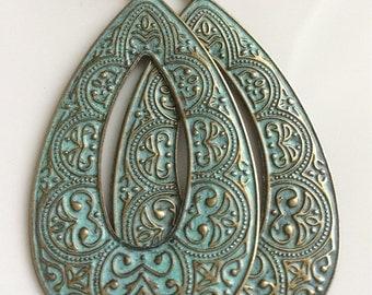 Long Turquoise Patina Earrings  Bohemian Earrings  Gypsy Dangles