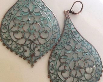 Patina Earrings  Long Filigree Earrings  Bohemian Earrings  Turquoise Patina  Boho Earrings  Leverback Earrings  Gypsy Dangles