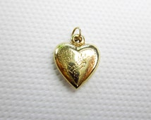 "14K Puff Heart Pendant/ Necklace, Tiny, Floral Engraving Mid Century, 24"" GF Chain, USA, 1940s."