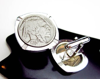 Vintage Cuff Links, 1930s Authentic Indian Head Nickels, Super Condition, Rhodium Plate Setting, USA.