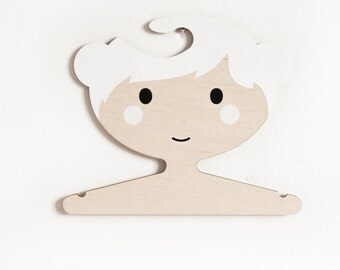 Clothes hanger - girl with little white buns