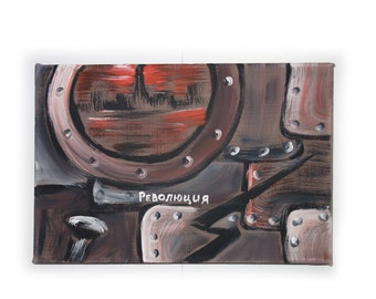 """REVOLUTION constructivism industrial small Original Painting Abstract Art 45 Midcentury Modern by KSAVERA 8""""x12"""" Little paintings on canvas"""