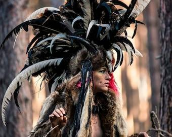 Burning Man Costume, Feather Headdress, Headdress, Movie Costume, Warrior Costume, Cosplay Ideas, Apocalyptic, Fantasy Props, Movie Props