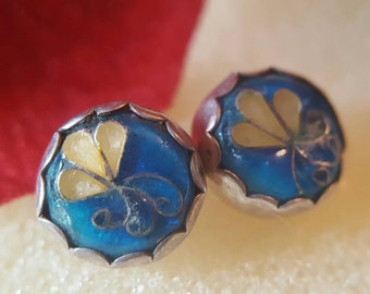 Sterling Silver Blue and Cream Button Earrings (st - 1649)