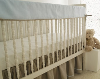 Linen crib bedding, rail guard, crib  rail cover. bumperless crib bedding
