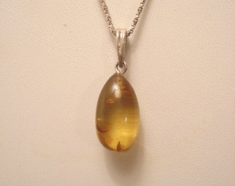 Vintage Sterling Amber Teardrop Necklace Honey Colored Artisan Made
