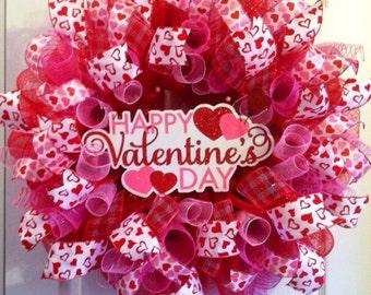 Valentine Wreath/Heart Valentine's Day Mesh Wreath/Valentine's Day Deco Mesh Wreath /Happy Valentine's Day Wreath/Valentine's Door Decor