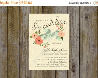 Sip and See Invitation Girl - Sip and See Invite - Baby Shower Invitation - Floral Invitation - Bridal Shower Invitation - Tea Invitation