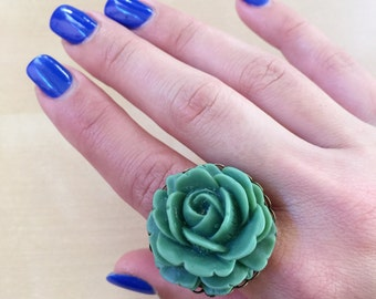 20% OFF: Green Rose Statement Ring - Forest Green, Sage Green, Flower Jewelry, 30mm Resin Cabochon, Summer, Festival Fashion, Dark Green