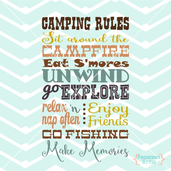 Camping Rules Campground Camp Outside Sign Vinyl Art Decal
