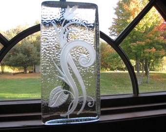 "ETCHED GLASS BLOCK 10"" x 5 "" x 2 1/2"" Thick Floral Design No Chips or Cracks Weighs Almost 11 Pounds"
