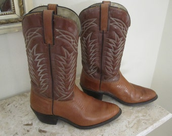 Mens Leather COWBOY BOOTS Sz 9 EE Made In America