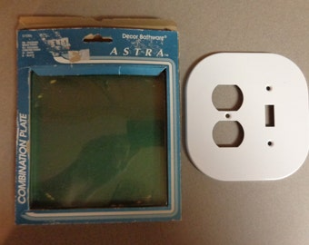 Vintage Astra Double Combination Outlet and Switch Plate Cover Modern Plain White metal Decor Bathware New Old Stock in Box NOS