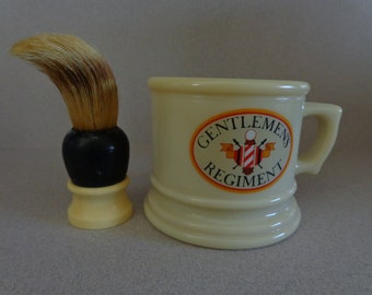Vintage Avon Shaving Mug with made Rite Shave Brush Gentlemen's Regiment Tan with Red Black colors
