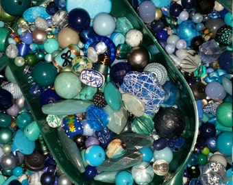 Huge Scoop of Blue Beads!! Bead Soup *  6 oz.!